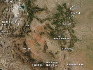 Smoke and heat from western wildfires on June 19, 2012
