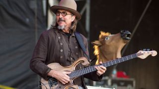 Les Claypool performs with The Claypool Lennon Delirium at the Beale Street Music Festival in Memphis, Tennessee on May 5, 2019