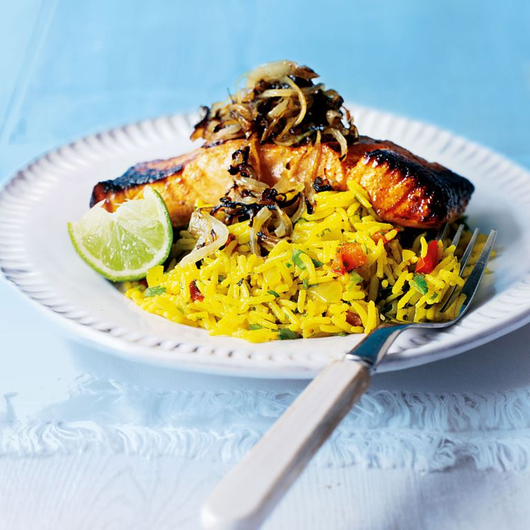 Grilled Tikka Salmon with Spicy Rice Pilaf Recipe-salmon recipes-recipe ideas-woman and home