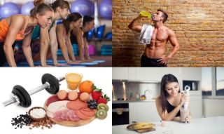 montage of eating and fitness images