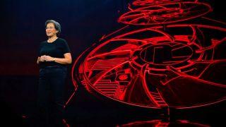 Lisa Su in front of GPU image