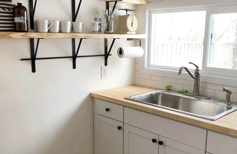 butcher block countertops in a small kitchen