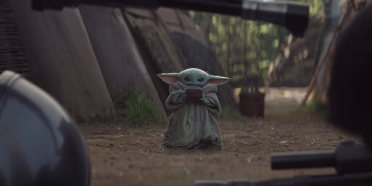 Baby Yoda sipping soup on The Mandalorian