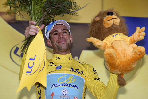 Vincenzo Nibali on the podium after retaining the yellow jersey on Stage 6 of the 2014 Tour de France