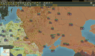 An image of the map from wargame War in the East 2.