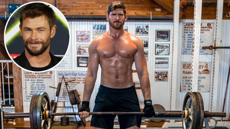 A muscular Erik Conover holding a barbell whilst following Chris Hemsworth's 10-week Power training program on Centr app, with an inset of the Thor star