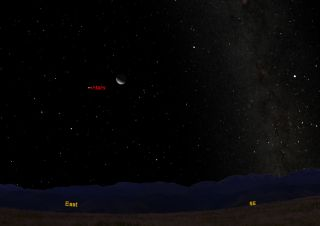 This sky map shows the position of Mars and the moon in the predawn sky on Friday, Oct. 21, 2011 at about 5 a.m. for skywatchers with clear skies in mid-northern latitudes.