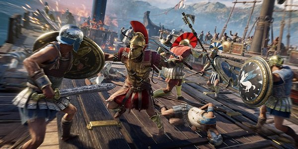 A dock fight in Assassin's Creed: Odyssey.