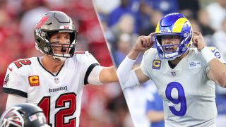 Tom Brady #12 of the Tampa Bay Buccaneers and Matthew Stafford #9 of the Los Angeles Rams