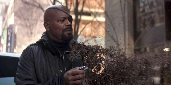Nick Fury evaporating in avengers: infinity war