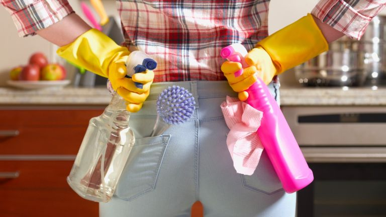 two cleaning products, Girl preparing to spring clean kitchen
