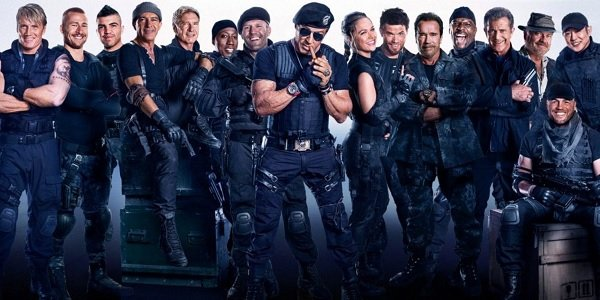 The Expendables 3 Sylvester Stallone standing front and center with the cast