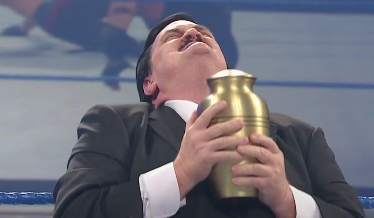 Paul Bearer loving life holding Undertaker's Urn SmackDown