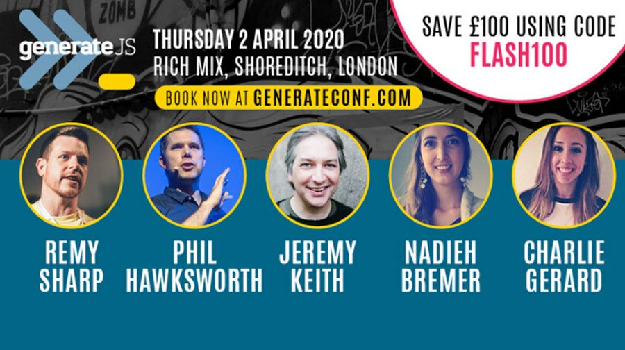 FLASH SALE! Get £100 off tickets to GenerateJS