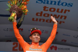 Caleb Ewan (Lotto Soudal) takes the ochre jersey as the new leader of the 2020 Tour Down Under after winning stage 2 to Stirling
