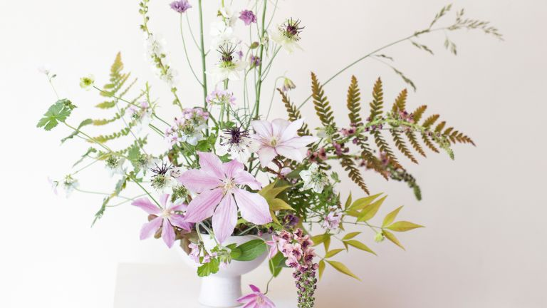 Homes & Gardens Flower of the Month, Delphiniums styled in a vase