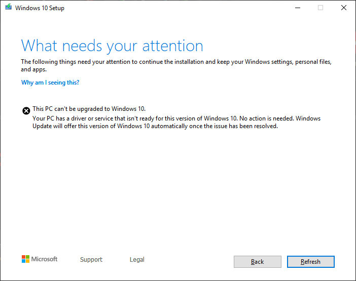 Some systems are refusing to install the Windows 10 May 2019 update