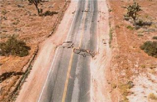 A California highway knocked awry by a 7.3-magnitude earthquake near Landers, California. Credit: Southern California Earthquake Data Center