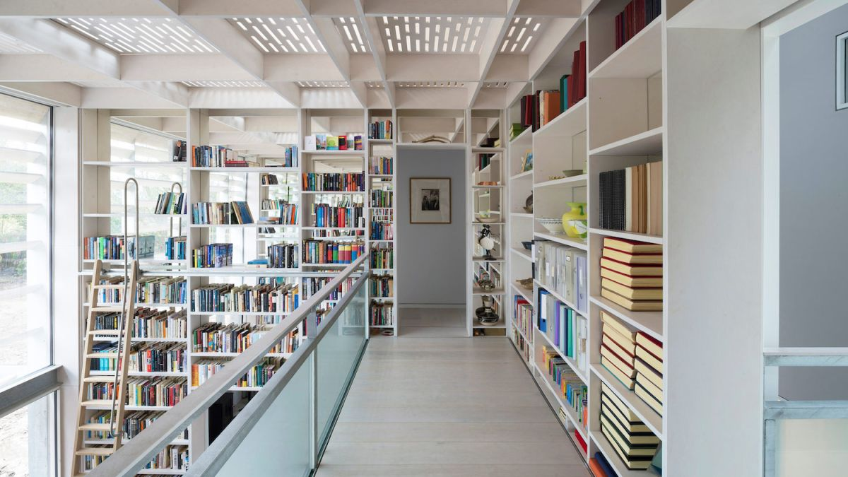 This old shed in Yorkshire has a striking double-height library at its core