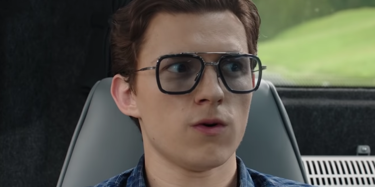Tom Holland in Tony Stark glasses in Spider-Man: Far From Home