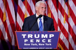 Vice president-elect Mike Pence speaks to supporters at Republican president-elect Donald Trump's election night event at the New York Hilton Midtown in the early morning hours of November 9, 2016 in New York City.