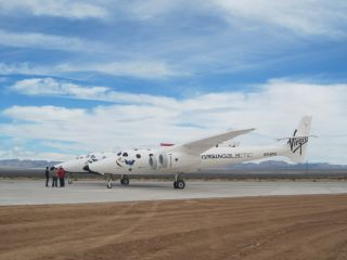 Virgin Galactic's SpaceShipTwo sits on the new runway at New Mexico's Spaceport America.