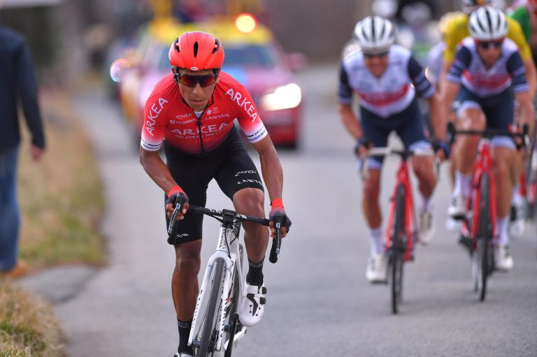 Nairo Quintana winning attack on stage seven of the 2020 Paris-Nice to La Colmiane