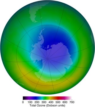 the area of the ozone hole above antarctica in october 2013.