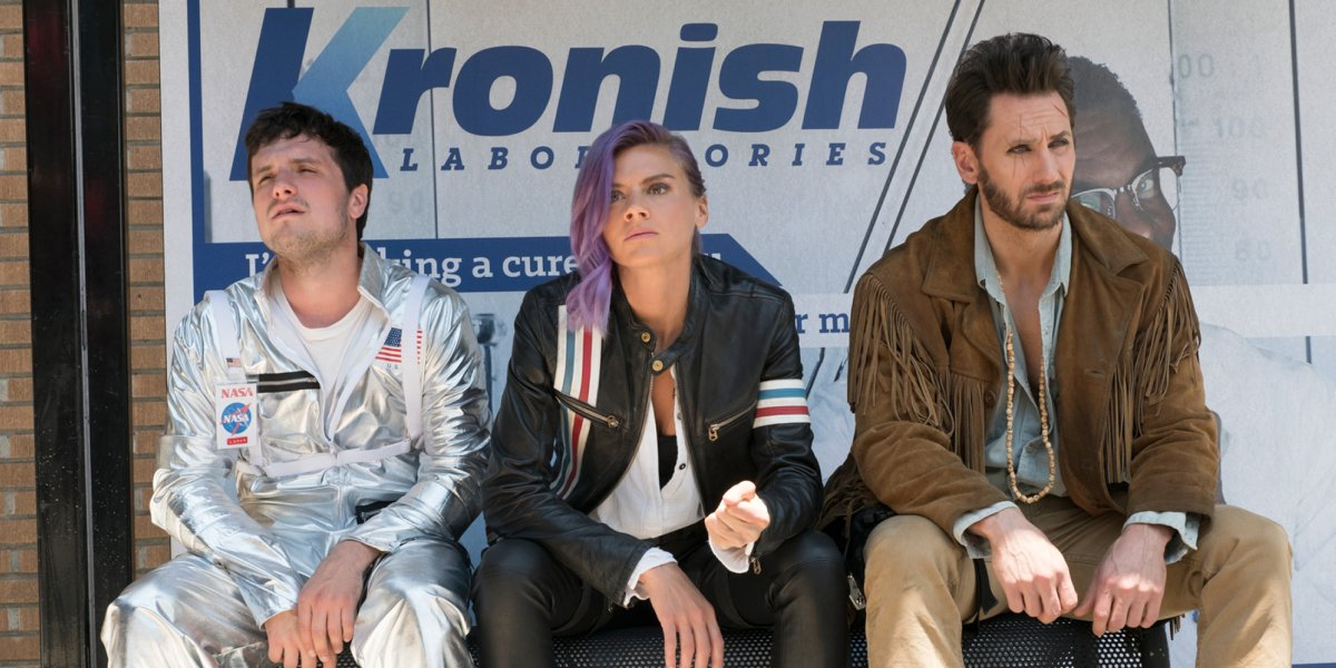 Josh Hutcherson, Eliza Coupe, and Derek Wilson in Future Man