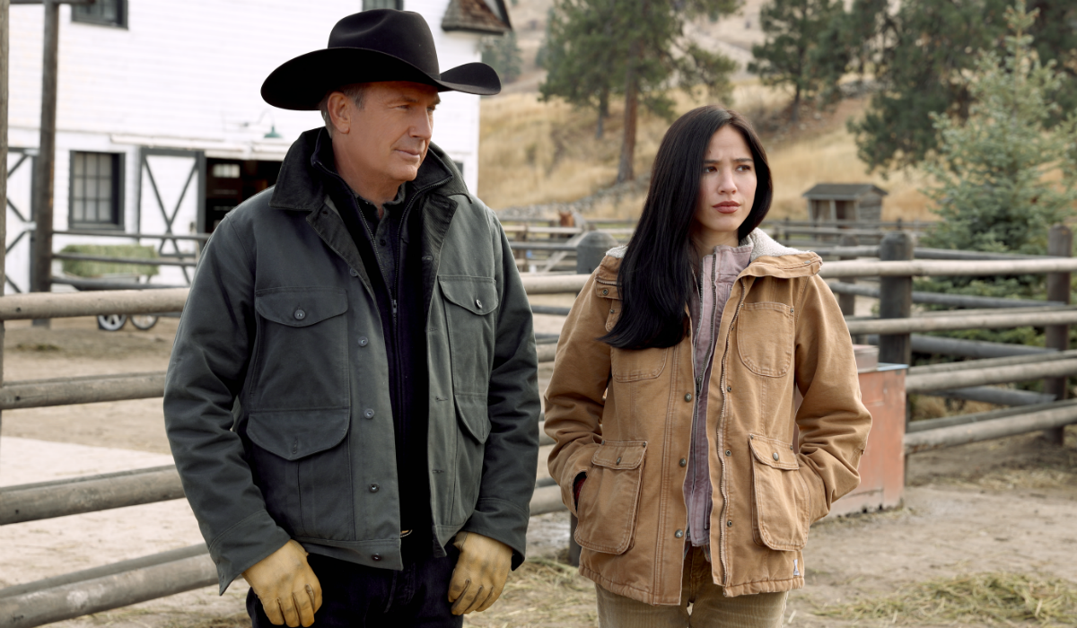 Yellowstone John Dutton Kevin Costner Monica Long-Dutton Kelsey Asbille Paramount Network