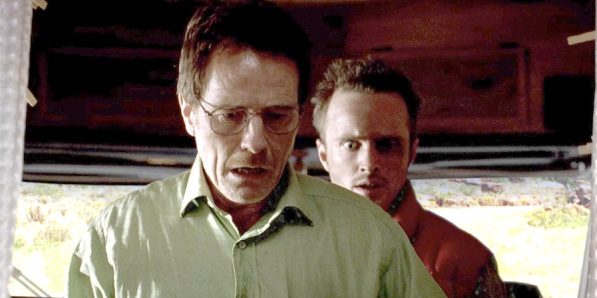 Breaking Bad Walt and Jesse look shocked in RV AMC