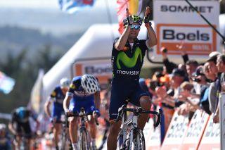 Alejandro Valverde (Movistar) gets a record fourth Fleche Wallonne win