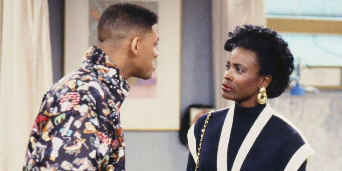 Will Smith as himself and Janet Hubert as Vivian Banks on The Fresh Prince of Bel-Air