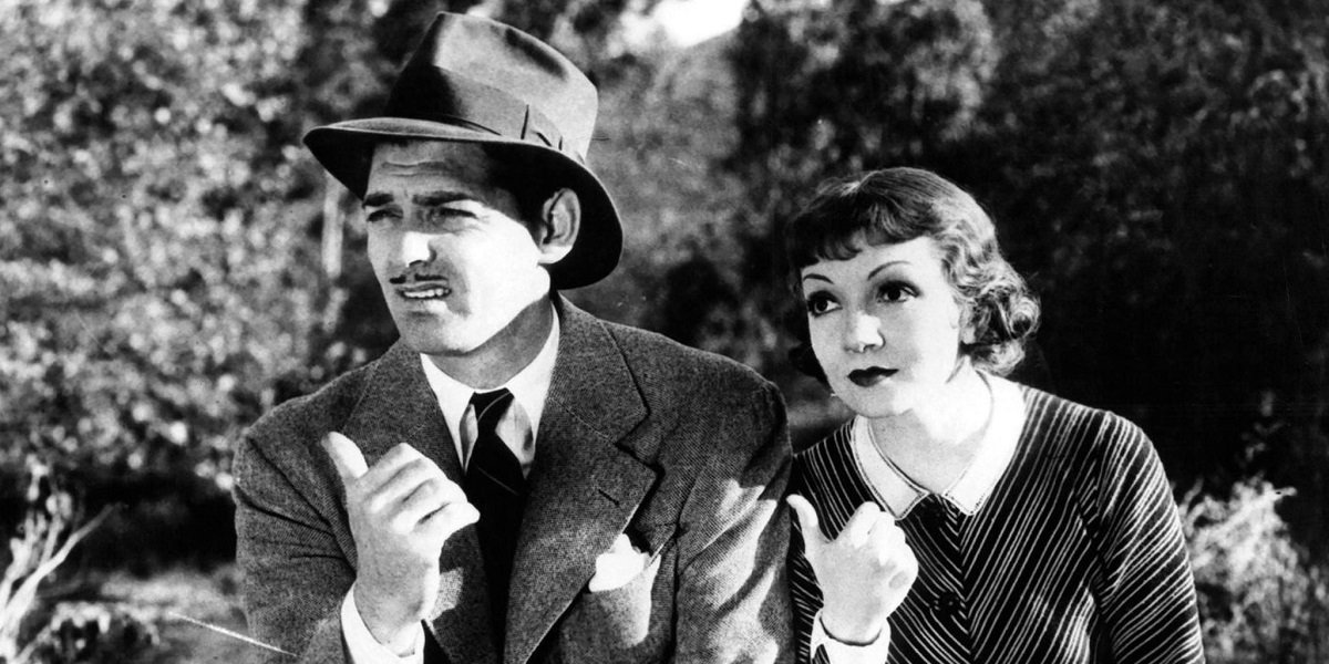 Clarke Gable and Claudette Colbert in  It Happened One Night