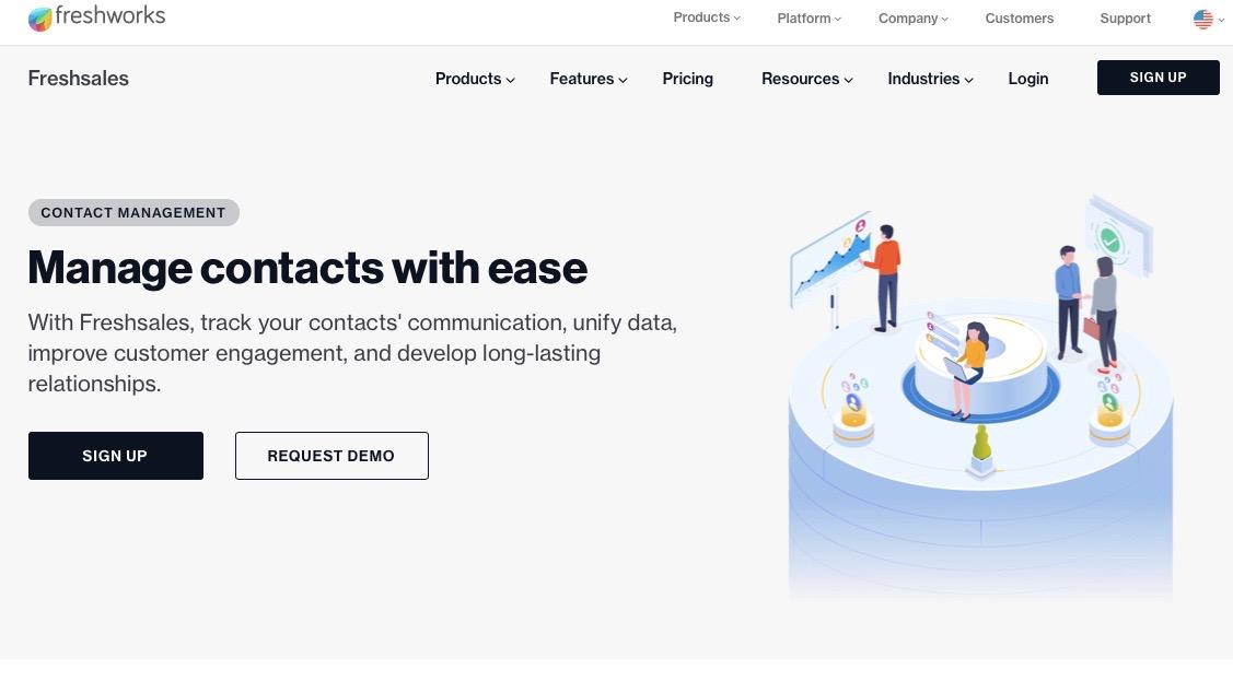 Freshsales' homepage