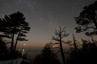 Venus and Jupiter over Lake Superior