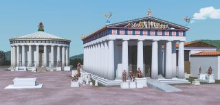 A digital rendering of the fourth-century B.C. Temple of Asklepios at Epidaurus (right). Notice the ramp on the temple's east side.