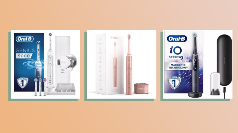 three of the best electric toothbrushes on peach background