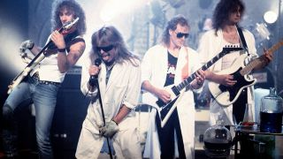 A photograph of Helloween on stage in 1988