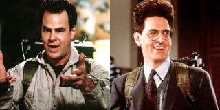 Ghostbusters II Harold Ramis wearing a proton pack, and a concerned expression