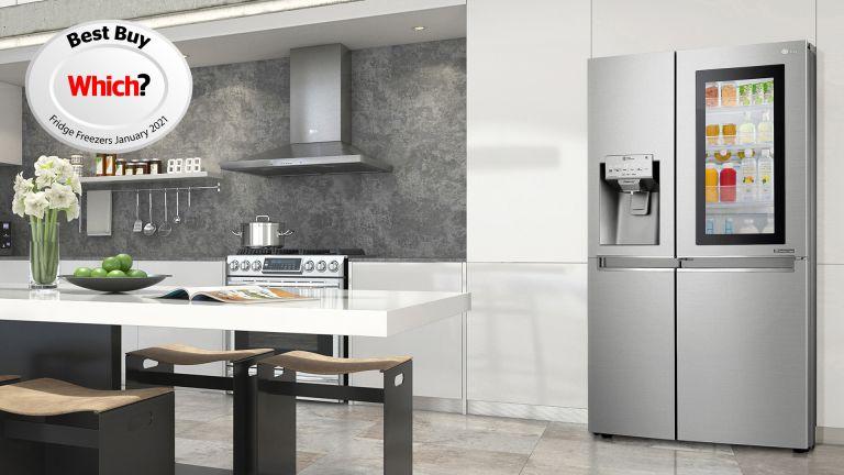 A kitchen featuring the LG InstaView Door-in-Door™ GSX961NSVZ American style Fridge Freezer.