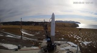 A view of Astra's Rocket 3.0 on the launch pad at the Pacific Spaceport Complex in Alaska on March 2, 2020. The day's planned launch attempt was scrubbed, ending Astra's chance to win the DARPA Launch Challenge.