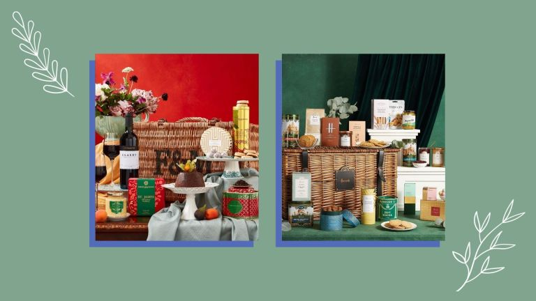 Side-by-side photo collage of the best Christmas hampers from Fortnum & Mason and Harrods