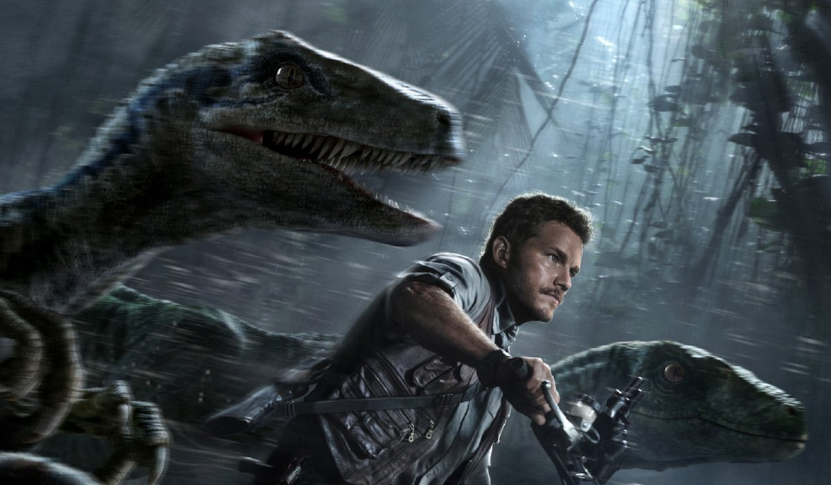 Jurassic World Owen Grady rides his motorcycle with a raptor pack