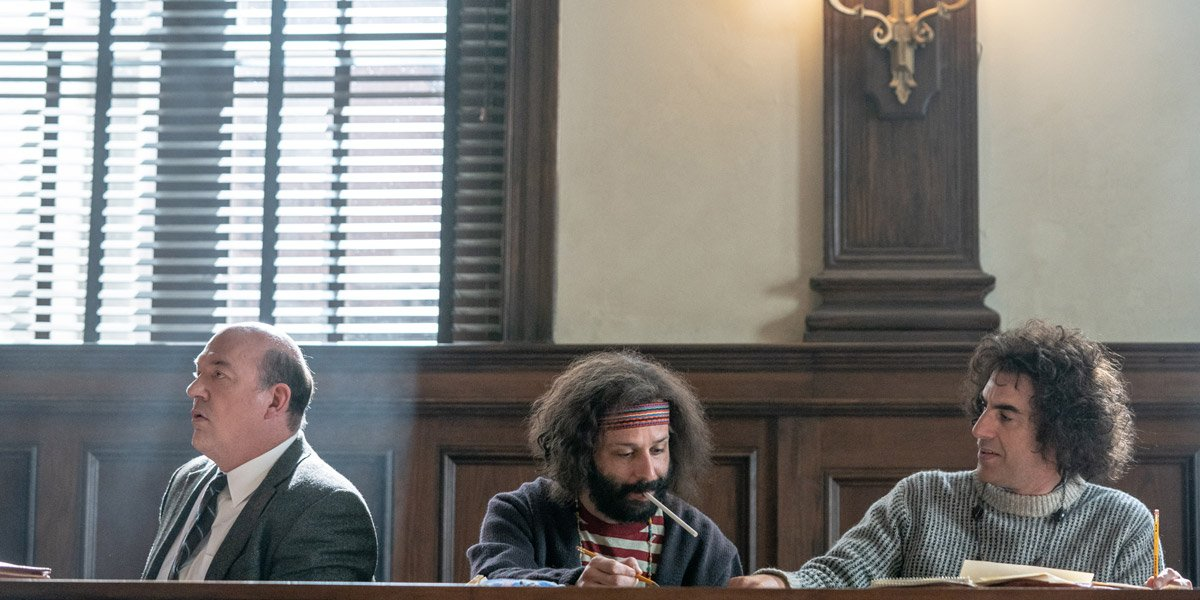 John Carroll Lynch Jeremy Strong Sacha Baron Cohen in The Trial Of The Chicago 7