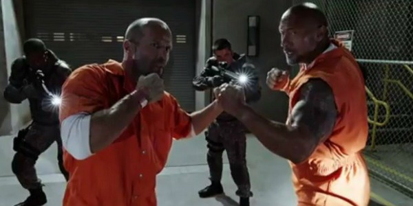 Jason Statham and Dwayne Johnson fighting in The Fate Of The Furious