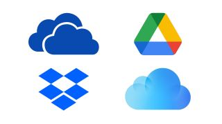 logos of OneDrive, Google Drive, Dropbox and iCloud