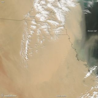 A huge dust storm blowing out of Saudi and Arabia and over the Persian Gulf on April 5, 2013..