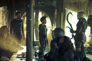 "Michael Burnham (Sonequa Martin), center, has a really bad day in ""Star Trek: Discovery"" Episode 11, ""The Wolf Inside."""