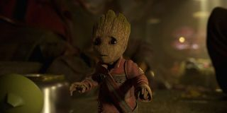 Baby Groot wearing coat in Guardians of the Galaxy Vol. 2